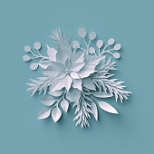 3d render, Christmas background, white paper cut, festive elements, holiday decoration, greeting card