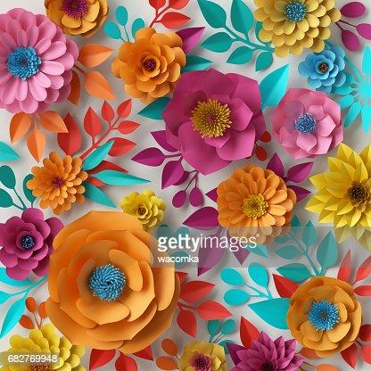 Rendu 3d Illustration Numerique Papier Colore Fleurs Fond Decran