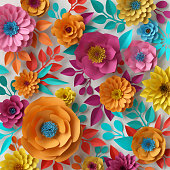 3d render, digital illustration, colorful paper flowers wallpaper, spring summer background, floral bouquet isolated on white, vibrant colors, mint pink orange yellow