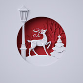 3d render, digital illustration, flat white paper craft, reindeer, lantern, fir tree, layers, stag, Christmas greeting card, white tree, round decoration, red background