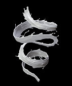 3d render, digital illustration, milk, spiral liquid splash, white wave, isolated on black background