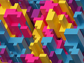 3d render, digital illustration, pink yellow blue, colorful abstract background, voxel pattern