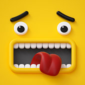 3d render, emotional cartoon face, emoticon, scared emotion, screaming, yellow monster