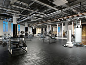 3d render fitness gym saloon