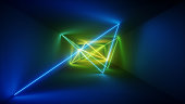 3d render, laser show, night club interior lights, blue green glowing lines, abstract fluorescent background, room, corridor