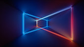 3d render, laser show, night club interior lights, blue red glowing lines, abstract fluorescent background, room, corridor