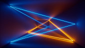 3d render, laser show, night club interior lights, blue yellow glowing lines, abstract fluorescent background, room, corridor