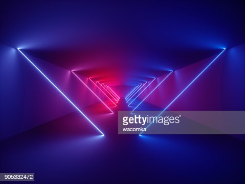 3d render, laser show, night club interior lights, glowing lines, abstract fluorescent background, corridor : Stock Photo