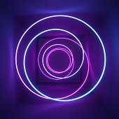 3d render, neon light, tunnel, laser show, illumination, glowing wavy lines, abstract fluorescent background, optical illusion, room, corridor, night club interior