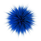 3d render of blue color fluffy Fur Ball isolated on white background.