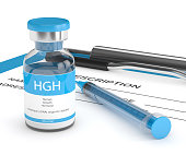 3d render of HGH vial with syringe lying on prescription