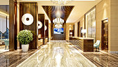3d render of hotel entrance and reception