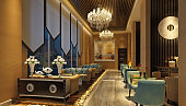 3d render of luxury hotel lobby and bar