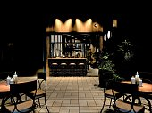 3d render of restaurant outdoor