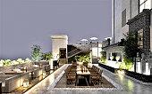 3d render of restaurant terrace