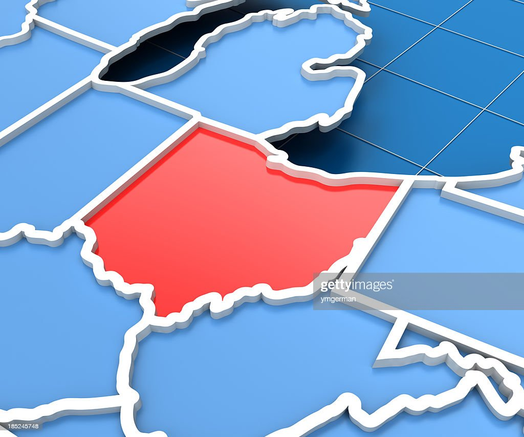 3d render of USA map with Ohio state highlighted