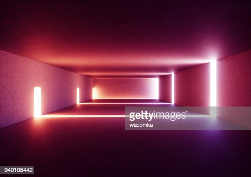 3d render of wide abstract illuminated empty corridor interior made of gray concrete, glowing red lines with shadow, daylight tunnel with no exit, violet light rays, minimalistic space : Foto de stock