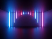 3d render, pink blue neon light, vertical glowing lines, round shape, ultraviolet spectrum, show stage, abstract background