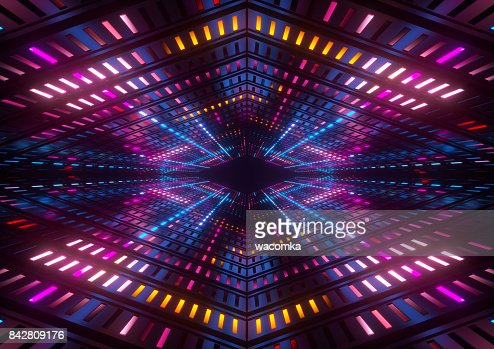 3d render, pink blue yellow neon lights, bright colorful tunnel, abstract geometric background : Stock Photo