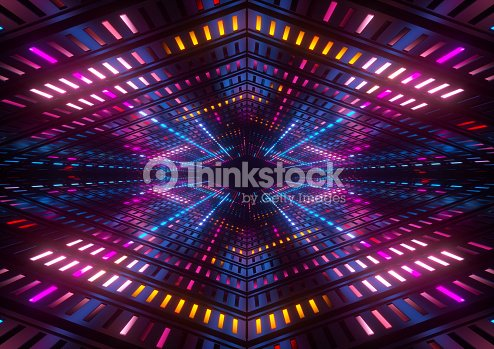 3d Render Pink Blue Yellow Neon Lights Bright Colorful Tunnel