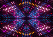 3d render, pink blue yellow neon lights, bright colorful tunnel, abstract geometric background