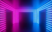 3d render, pink neon lines, square shapes inside empty room, virtual space, ultraviolet light, 80's style, retro disco club interior, fashion show stage, abstract background