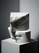 3d render, sculptural male face parts, stack of stone blocks, still life, ear, eye, nose, lips, classical art3d render, sculptural primitive shapes, simple art blocks, cone, ball, cylinder, cube, clas