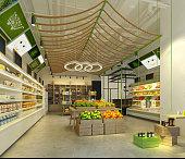 3d render supermarket, food store.