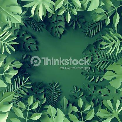 3d render, tropical paper leaves, blue scene background, jungle, frame : Stock Photo