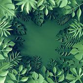 3d render, tropical paper leaves, blue scene background, jungle, frame