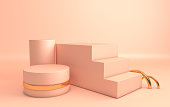 3d rendered gold and pastel bige geometric shapes, podium in the room. Set of platforms for product presentation, mock up. Abstract composition in modern minimal design