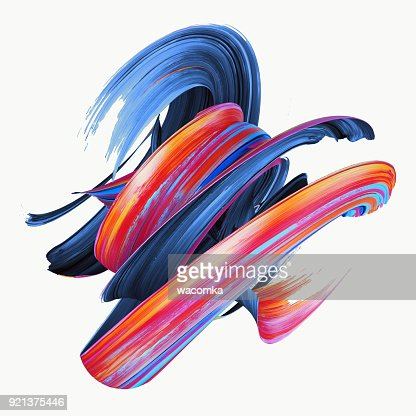 3d rendering, abstract twisted brush stroke, paint splash, splatter, colorful curl, artistic spiral, vivid hieroglyph : Foto de stock