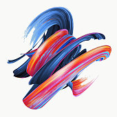 3d rendering, abstract twisted brush stroke, paint splash, splatter, colorful curl, artistic spiral, vivid hieroglyph