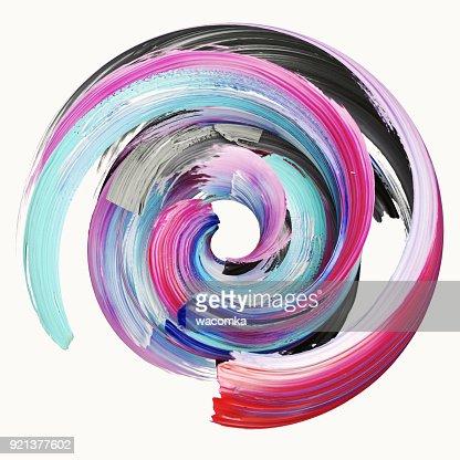 3D-Rendering, abstrakt, Farbe Splash, Splatter, bunten Kreis, künstlerische Spirale, verdrehten Pinselstrich, lebendige Band : Stock-Foto