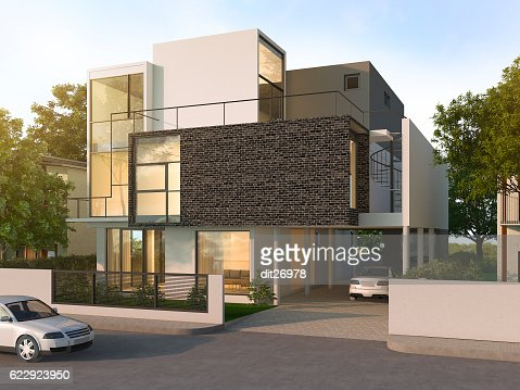 3d rendering beautiful modern design black brick house : Stock Photo