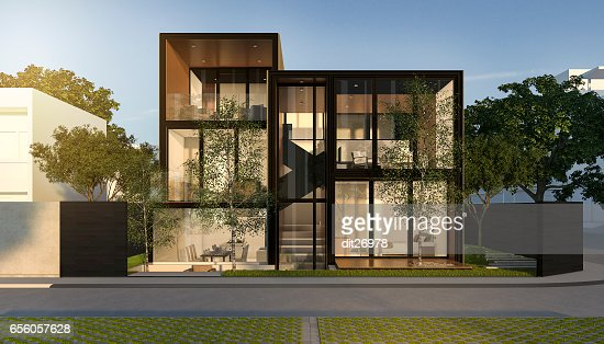 3d rendering black loft modern house in summer : Stock Photo