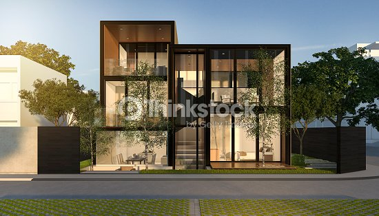 3d rendering black loft modern house in summer : Stock Photo