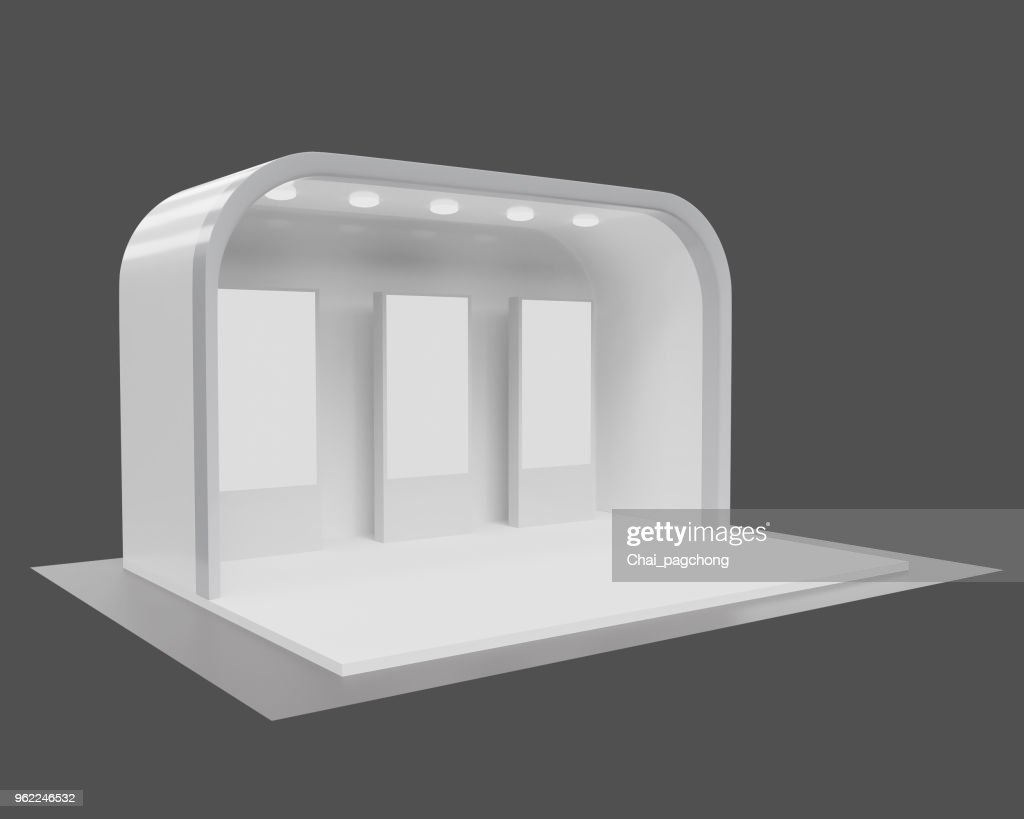 Exhibition Booth Blank : Blank creative exhibition stand design with color shapes booth