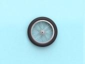 3d rendering blue flat lay scene bike wheel