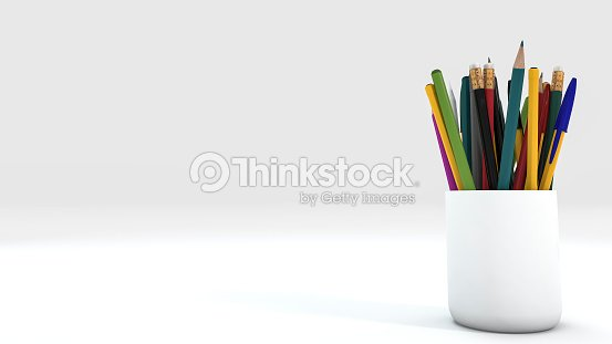 3d rendering close up color pencil in white cup ストックフォト