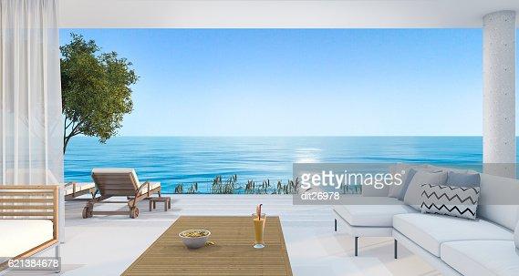3d rendering contemporary nice living room near beach : Stock Photo