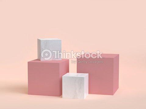 3d rendering cube-box marble minimal cream background : Foto de stock