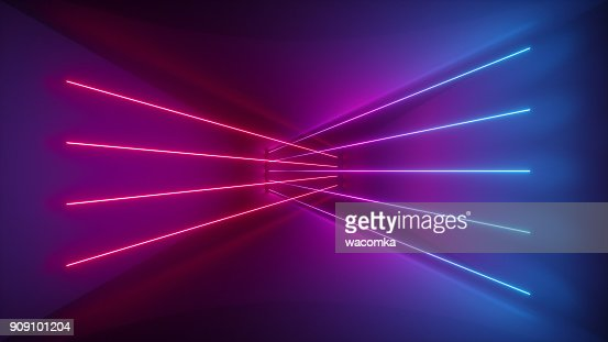 3d rendering, glowing lines, neon lights, abstract psychedelic background, ultraviolet, pink blue vibrant colors : Stock Photo
