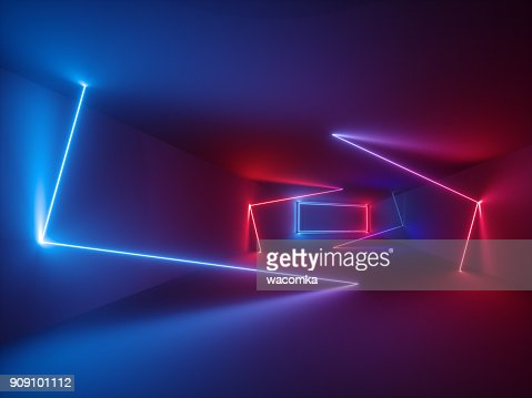 3d rendering, glowing lines, neon lights, abstract psychedelic background, ultraviolet, vibrant colors : Stock Photo