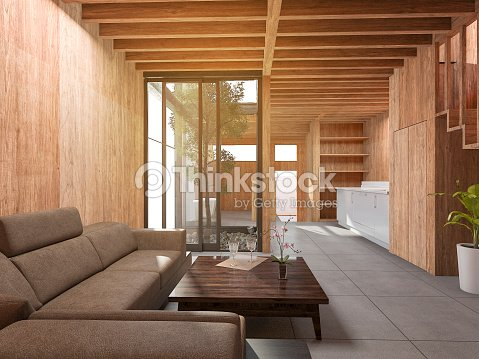 3d rendering japanische wohnzimmer stilhaus mit holzdekor stock foto thinkstock - Japanisches wohnzimmer ...
