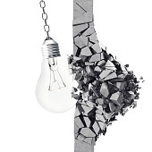 3d rendering light bulb, demolishing wall smithereens, concept of creative thinking and innovation