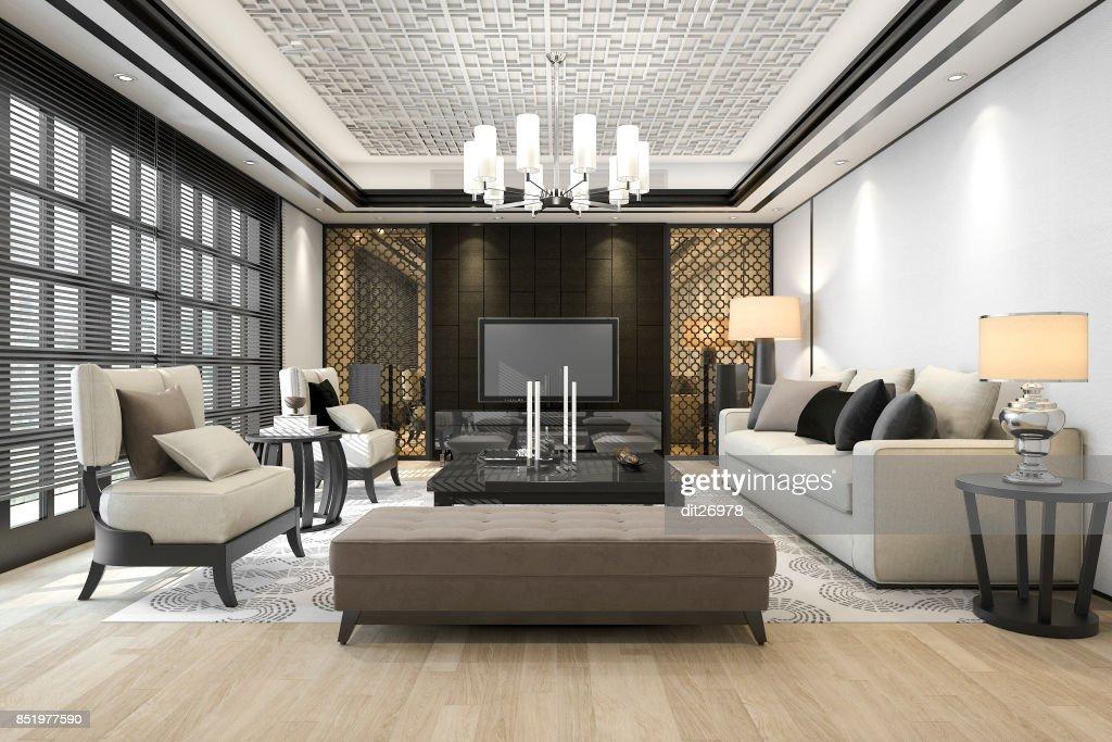 3D Rendering Luxus Und Modernes Wohnzimmer Mit Kronleuchter : Stock Foto