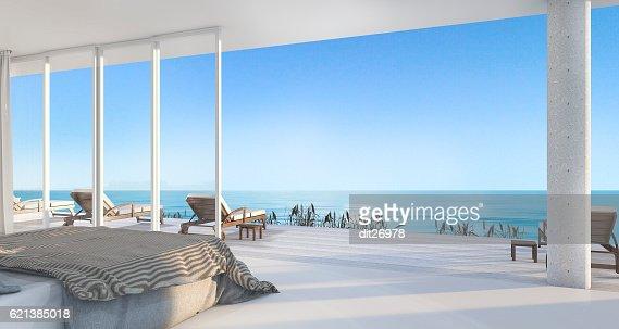 3d rendering luxury villa bedroom near beach : Photo