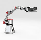 3d rendering metallic robotic arm with transistor on gray background.