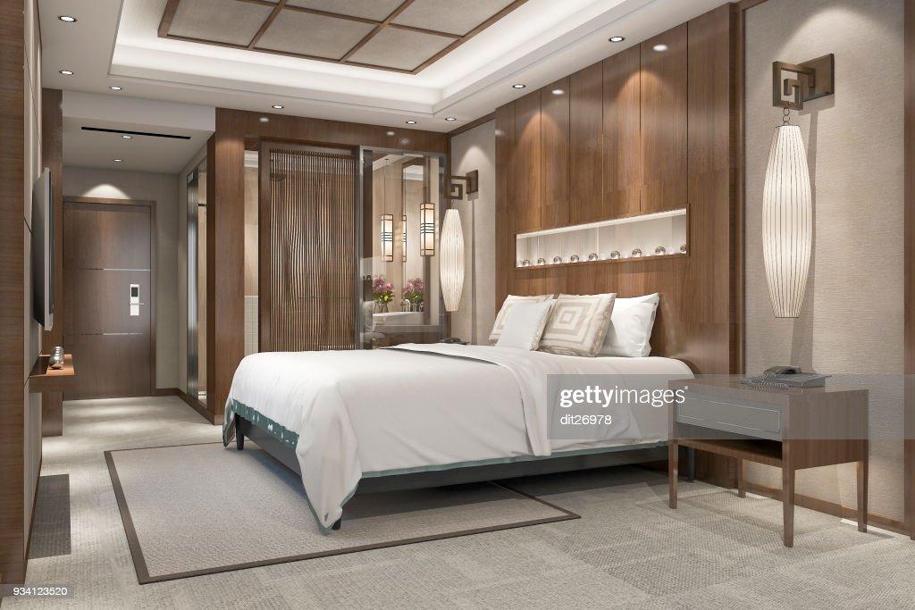 Suite De Chambre Luxe Moderne Rendu 3D Dans Station Avec Salle De Bain :  Photo